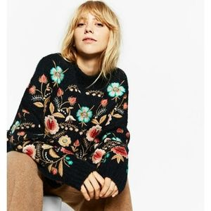 ZARA chunky floral embroidered sweater